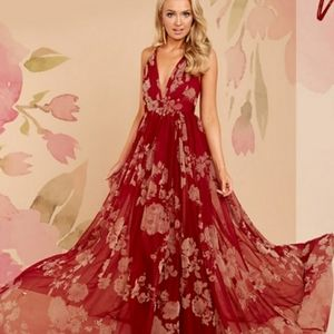 NWT Wine With Beige Floral Tulle Maxi Dress